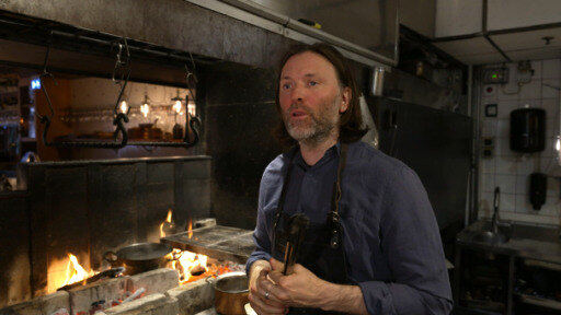 Starred Swedish chef Niklas Ekstedt cooks all his dishes over an open fire.